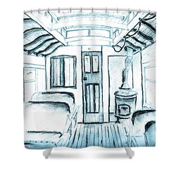 Shower Curtain featuring the drawing Antique Passenger Car by Shannon Harrington