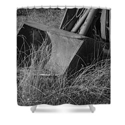 Shower Curtain featuring the photograph Antique Tractor Bucket In Black And White by Jennifer Ancker