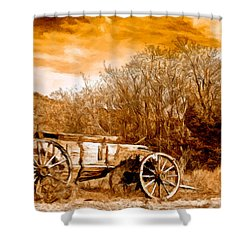 Antique Wagon Shower Curtain by Bob and Nadine Johnston