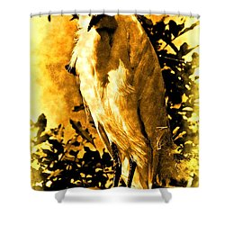 Antiqued Snowy Egret Shower Curtain