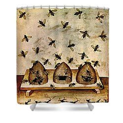 Apiculture-beekeeping-14th Century Shower Curtain by Science Source