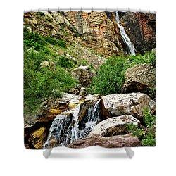 Apikuni Falls Shower Curtain by Greg Norrell
