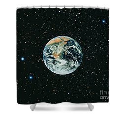 Apollo 17 View Of Earth With Starfield Shower Curtain by NASA / Science Source
