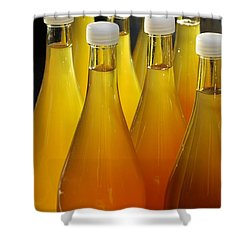 Apple Juice In Bottles Shower Curtain by Matthias Hauser