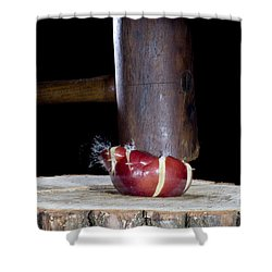 Apple Smashed With Mallet Shower Curtain by Ted Kinsman