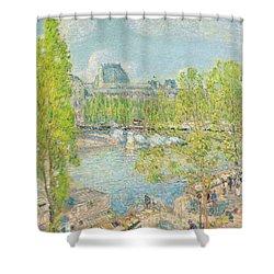 April On The Quai Voltaire In Paris Shower Curtain by Childe Hassam