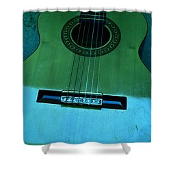Aqua And Green Guitar Shower Curtain