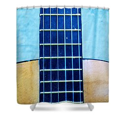 Aqua Guitar Shower Curtain