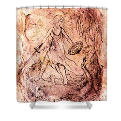 Archangel Study Shower Curtain by Rachel Christine Nowicki