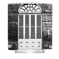 Arched White Shuttered Window French Quarter New Orleans Photocopy Digital Art  Shower Curtain by Shawn O'Brien