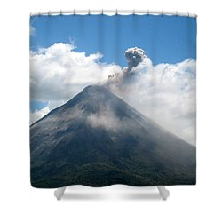 Shower Curtain featuring the photograph Arenal Eruption by Eric Tressler