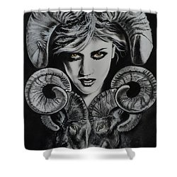 Aries The Ram Shower Curtain by Carla Carson