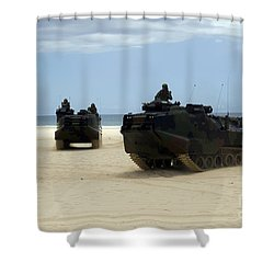 Armored Assault Vehicles Performing Shower Curtain by Stocktrek Images