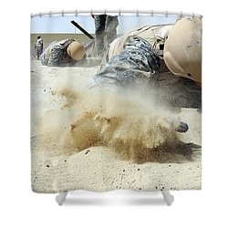 Army Soldier Pulls Himself Shower Curtain by Stocktrek Images