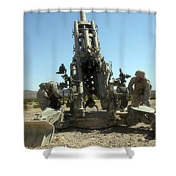 Artillerymen Manning The M777 Shower Curtain by Stocktrek Images