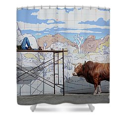 Artist At Work Shower Curtain by Bob Christopher