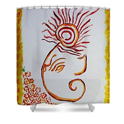 Shower Curtain featuring the painting Artistic Lord Ganesha by Sonali Gangane