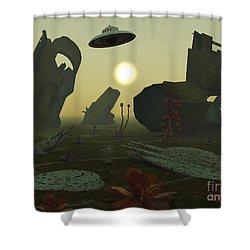Artists Concept Of An Alien Scrap Yard Shower Curtain by Mark Stevenson