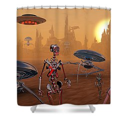 Artists Concept Of Life On Mars Long Shower Curtain by Mark Stevenson
