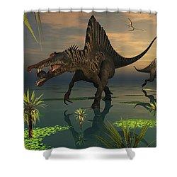 Artists Concept Of Spinosaurus Shower Curtain by Mark Stevenson