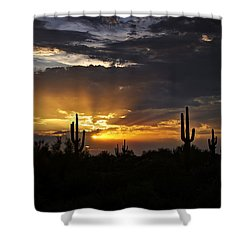 As The Sun Sets In The West  Shower Curtain by Saija  Lehtonen
