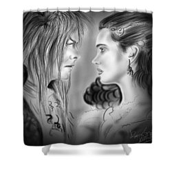 As The World Falls Down Shower Curtain by Alessandro Della Pietra