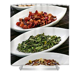 Assorted Herbal Wellness Dry Tea In Bowls Shower Curtain by Elena Elisseeva
