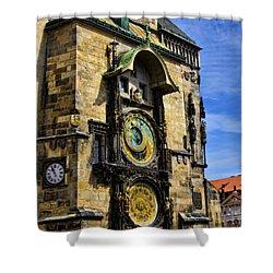 Astonomical Clock    Prague Old Town Shower Curtain by Jon Berghoff