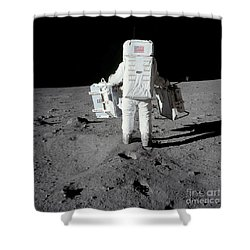 Astronaut Carrying Equipment Shower Curtain by Stocktrek Images