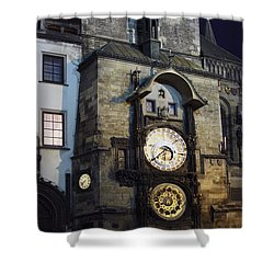 Astronomical Clock At Night Shower Curtain by Sally Weigand