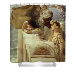 At Aphrodite's Cradle Shower Curtain by Sir Lawrence Alma-Tadema