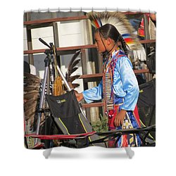 Shower Curtain featuring the photograph At Blackfeet Pow Wow 03 by Ausra Huntington nee Paulauskaite