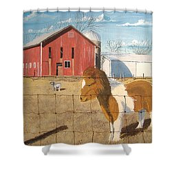Shower Curtain featuring the painting At Home by Norm Starks