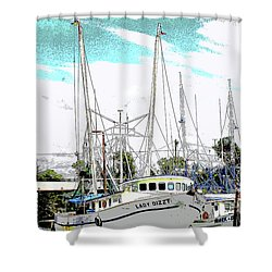 At The Dock Shower Curtain by Barry Jones