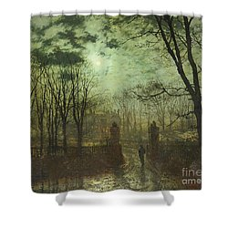 At The Park Gate Shower Curtain by John Atkinson Grimshaw