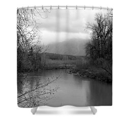 At The River Turn Bw Shower Curtain