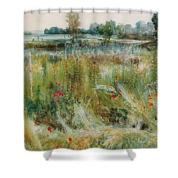 At The Water's Edge Shower Curtain by John William Buxton Knight