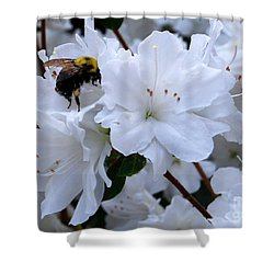 At Work In The Garden Shower Curtain by Linda Mesibov