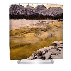 Athabasca River And Mt Fryatt, Jasper Shower Curtain by Darwin Wiggett