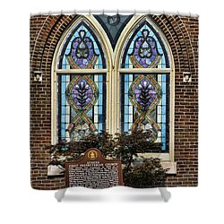 Athens Alabama First Presbyterian Church Stained Glass Window Shower Curtain by Kathy Clark