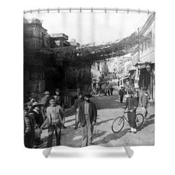Athens Greece  C 1903 - Aeolos Street And The Stoa Of Hadrian Shower Curtain by International  Images