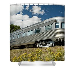 Atsf Train And Flowers Shower Curtain by Tim Mulina