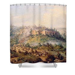 Attack On Stocks Kraall In The Fish River Bush Shower Curtain by Thomas Baines
