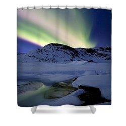 Aurora Borealis Over Mikkelfjellet Shower Curtain by Arild Heitmann