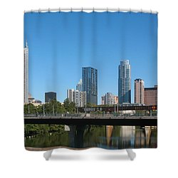 Austin Texas 2012 Skyline And Water Reflections Shower Curtain by Connie Fox