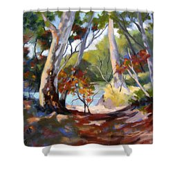 Shower Curtain featuring the painting Australia Revisited by Rae Andrews
