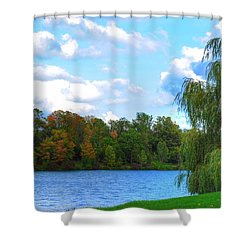 Shower Curtain featuring the photograph Autumn At Hoyt Lake by Michael Frank Jr