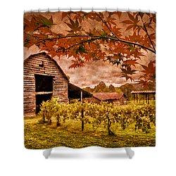 Autumn Cabernet Shower Curtain by Debra and Dave Vanderlaan