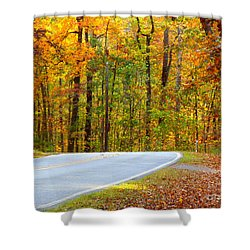Shower Curtain featuring the photograph Autumn Drive by Lydia Holly