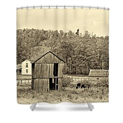 Autumn Farm Sepia Shower Curtain by Steve Harrington
